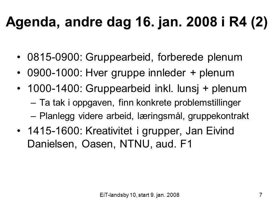 EiT-landsby 10, start 9. jan. 20087 Agenda, andre dag 16. jan. 2008 i R4 (2) 0815-0900: Gruppearbeid, forberede plenum 0900-1000: Hver gruppe innleder