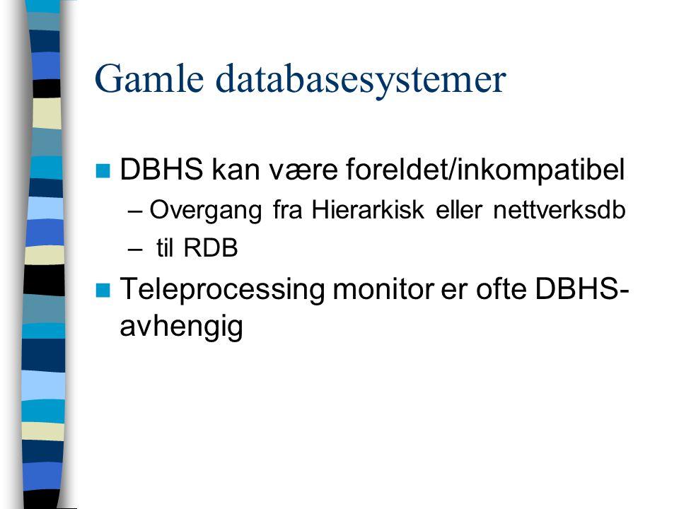 Gamle databasesystemer DBHS kan være foreldet/inkompatibel –Overgang fra Hierarkisk eller nettverksdb – til RDB Teleprocessing monitor er ofte DBHS- a