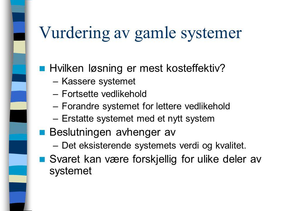 Vurdering av gamle systemer Hvilken løsning er mest kosteffektiv? –Kassere systemet –Fortsette vedlikehold –Forandre systemet for lettere vedlikehold