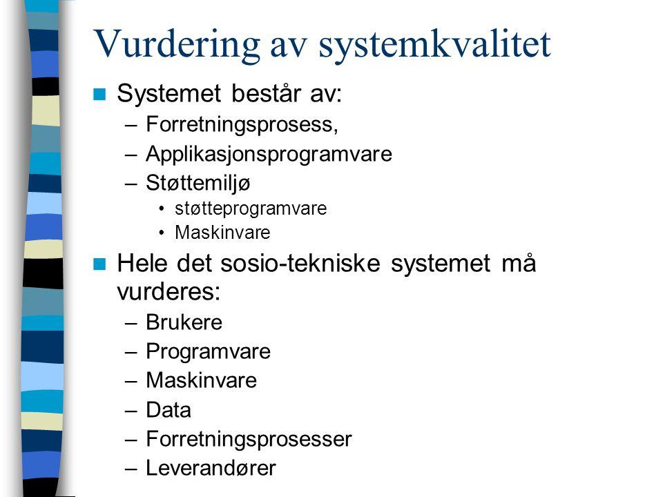Vurdering av systemkvalitet Systemet består av: –Forretningsprosess, –Applikasjonsprogramvare –Støttemiljø støtteprogramvare Maskinvare Hele det sosio