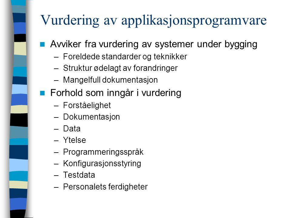 Vurdering av applikasjonsprogramvare Avviker fra vurdering av systemer under bygging –Foreldede standarder og teknikker –Struktur ødelagt av forandrin