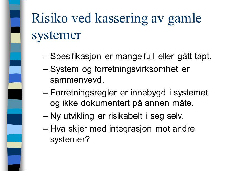Risiko ved kassering av gamle systemer –Spesifikasjon er mangelfull eller gått tapt. –System og forretningsvirksomhet er sammenvevd. –Forretningsregle