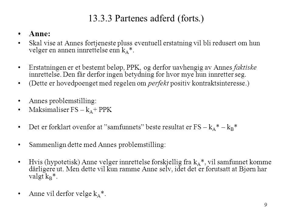 9 13.3.3 Partenes adferd (forts.) Anne: Skal vise at Annes fortjeneste pluss eventuell erstatning vil bli redusert om hun velger en annen innrettelse