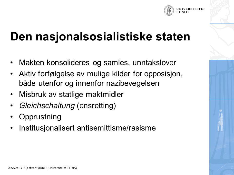 Den nasjonalsosialistiske staten Makten konsolideres og samles, unntakslover Aktiv forfølgelse av mulige kilder for opposisjon, både utenfor og innenf