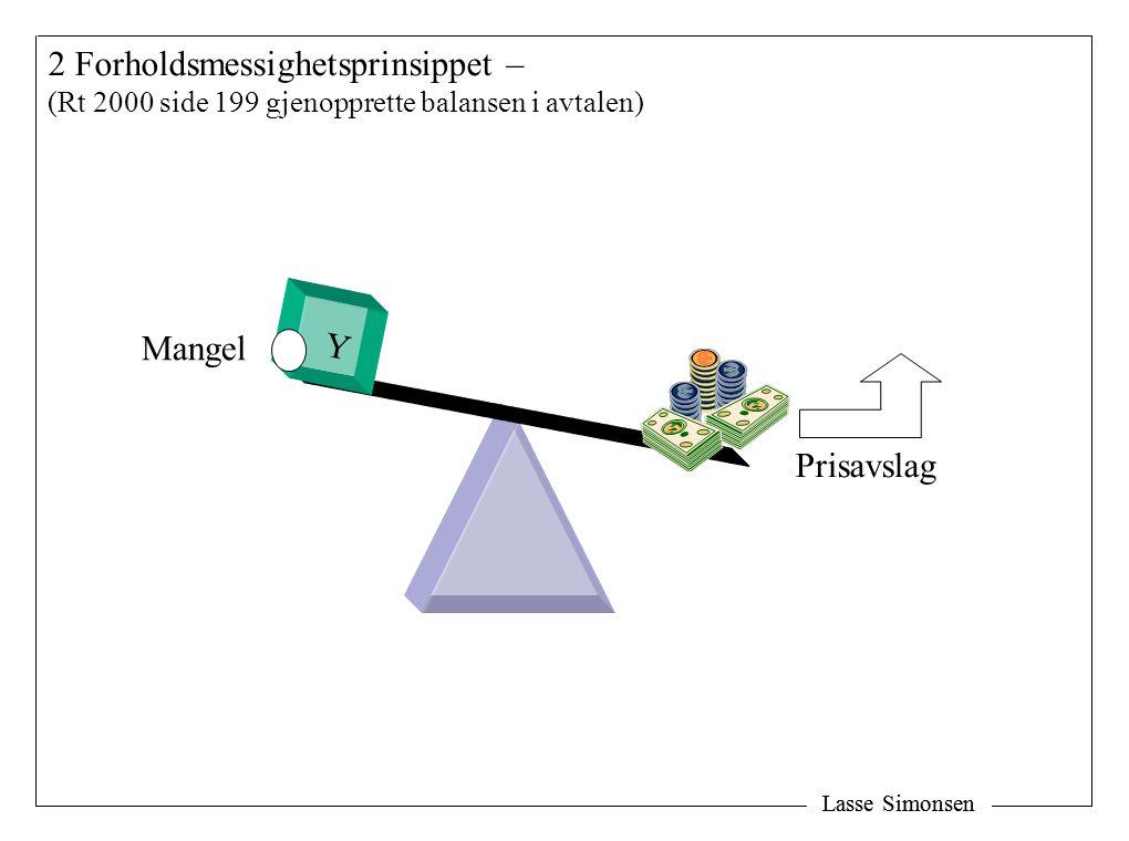 Lasse Simonsen 2 Forholdsmessighetsprinsippet – (Rt 2000 side 199 gjenopprette balansen i avtalen) Y Mangel Prisavslag
