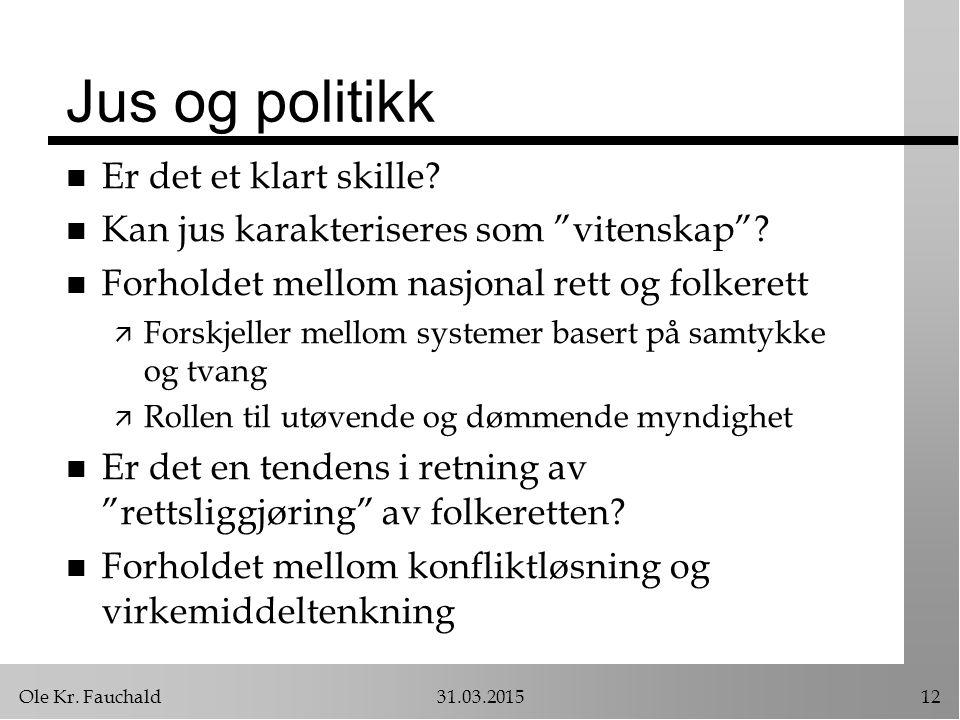Ole Kr. Fauchald31.03.201512 Jus og politikk n Er det et klart skille.