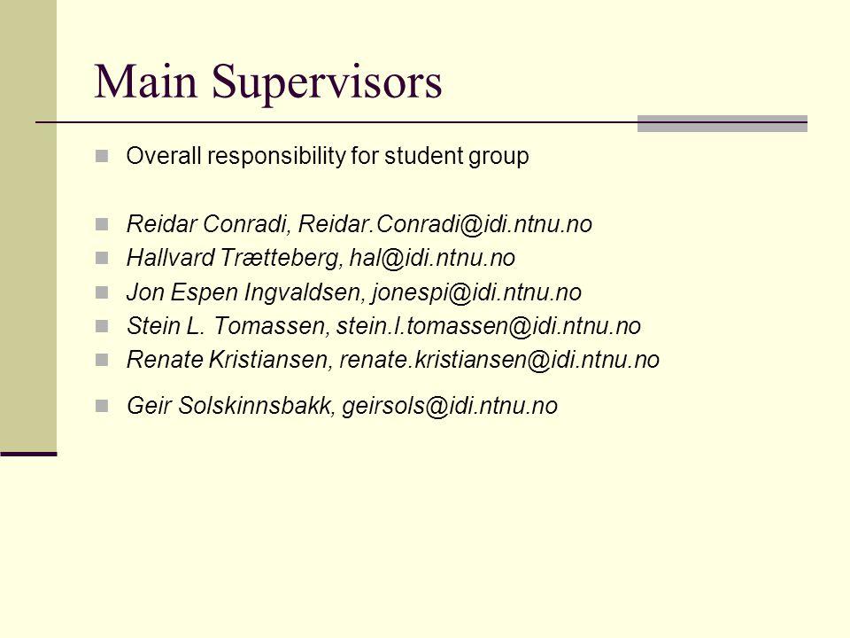 Main Supervisors Overall responsibility for student group Reidar Conradi, Reidar.Conradi@idi.ntnu.no Hallvard Trætteberg, hal@idi.ntnu.no Jon Espen In