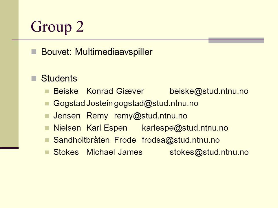 Group 2 Bouvet: Multimediaavspiller Students BeiskeKonrad Giæverbeiske@stud.ntnu.no GogstadJosteingogstad@stud.ntnu.no JensenRemyremy@stud.ntnu.no Nie