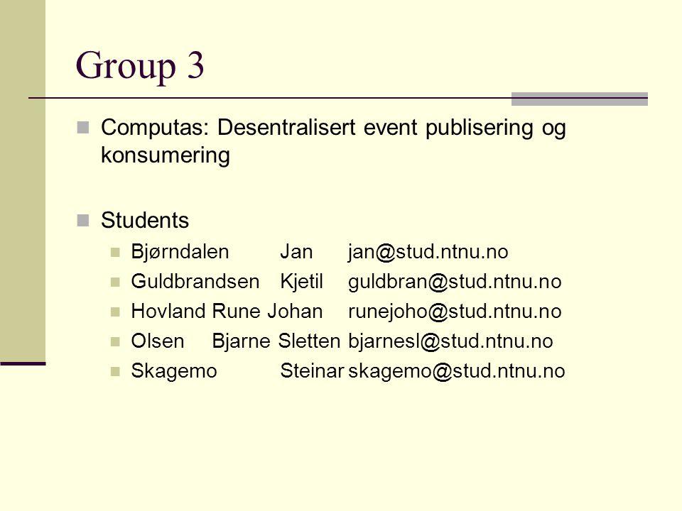 Group 3 Computas: Desentralisert event publisering og konsumering Students BjørndalenJanjan@stud.ntnu.no GuldbrandsenKjetilguldbran@stud.ntnu.no Hovla