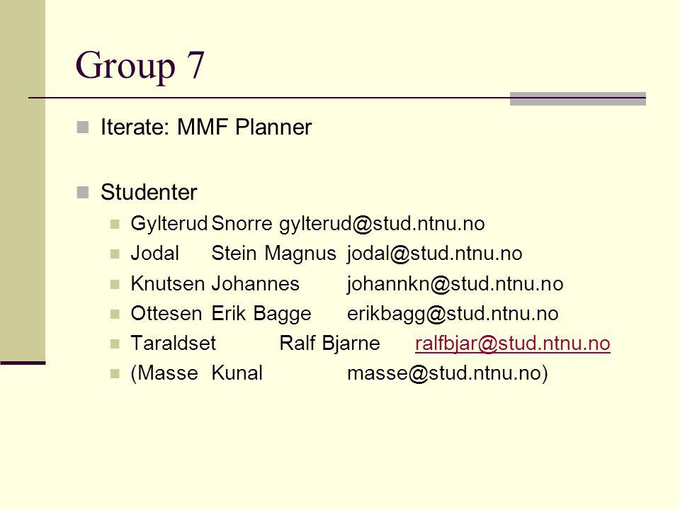 Group 7 Iterate: MMF Planner Studenter GylterudSnorregylterud@stud.ntnu.no JodalStein Magnusjodal@stud.ntnu.no KnutsenJohannesjohannkn@stud.ntnu.no Ot