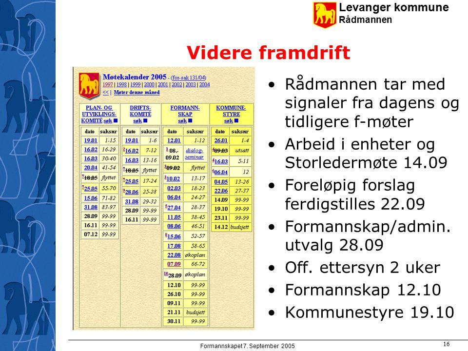 Levanger kommune Rådmannen Formannskapet 7. September 2005 16 Videre framdrift Rådmannen tar med signaler fra dagens og tidligere f-møter Arbeid i enh