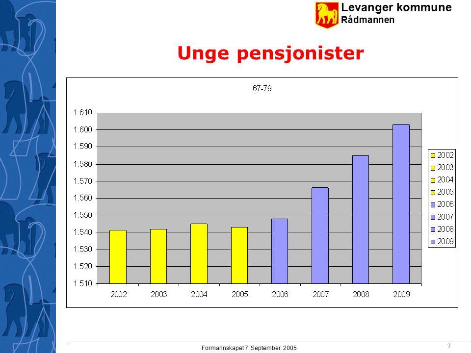 Levanger kommune Rådmannen Formannskapet 7. September 2005 7 Unge pensjonister