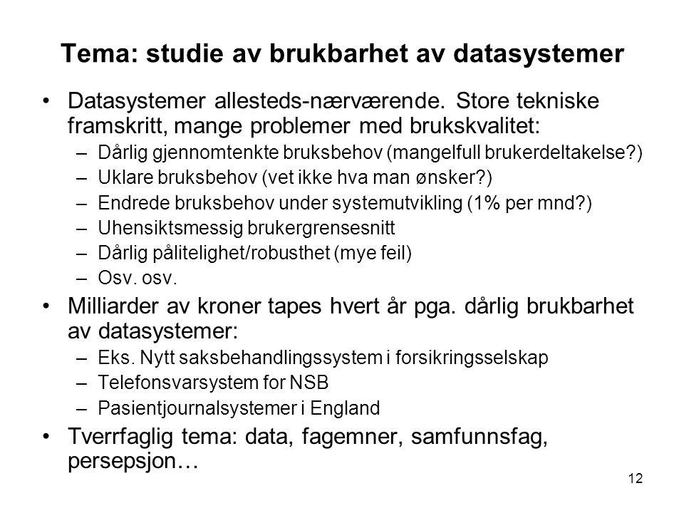 12 Tema: studie av brukbarhet av datasystemer Datasystemer allesteds-nærværende. Store tekniske framskritt, mange problemer med brukskvalitet: –Dårlig
