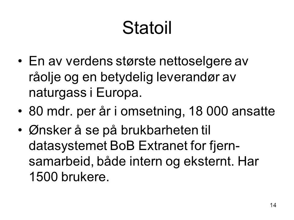 14 Statoil En av verdens største nettoselgere av råolje og en betydelig leverandør av naturgass i Europa. 80 mdr. per år i omsetning, 18 000 ansatte Ø