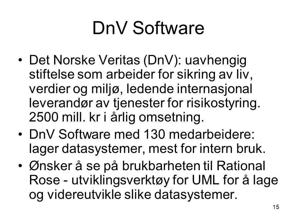 15 DnV Software Det Norske Veritas (DnV): uavhengig stiftelse som arbeider for sikring av liv, verdier og miljø, ledende internasjonal leverandør av t