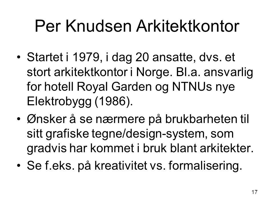 17 Per Knudsen Arkitektkontor Startet i 1979, i dag 20 ansatte, dvs. et stort arkitektkontor i Norge. Bl.a. ansvarlig for hotell Royal Garden og NTNUs