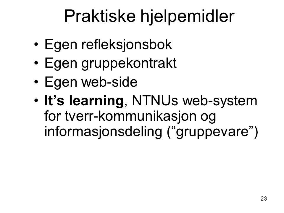 23 Praktiske hjelpemidler Egen refleksjonsbok Egen gruppekontrakt Egen web-side It's learning, NTNUs web-system for tverr-kommunikasjon og informasjon