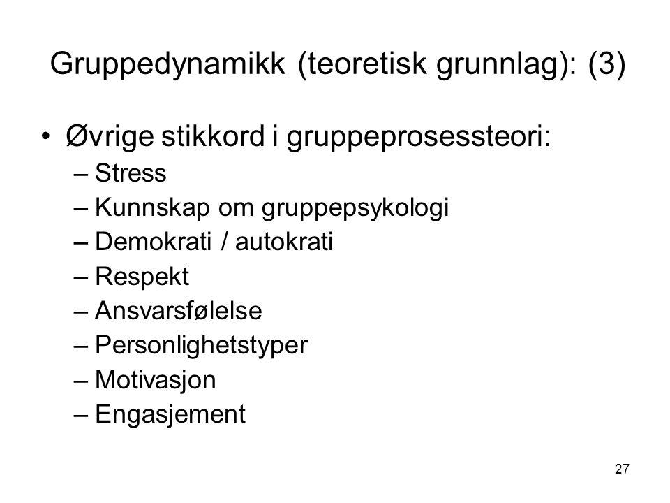 27 Gruppedynamikk (teoretisk grunnlag): (3) Øvrige stikkord i gruppeprosessteori: –Stress –Kunnskap om gruppepsykologi –Demokrati / autokrati –Respekt