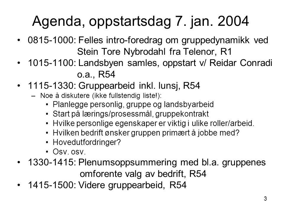 3 Agenda, oppstartsdag 7. jan. 2004 0815-1000: Felles intro-foredrag om gruppedynamikk ved Stein Tore Nybrodahl fra Telenor, R1 1015-1100: Landsbyen s