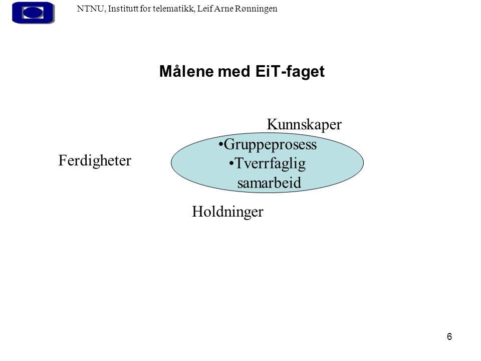 6 Målene med EiT-faget NTNU, Institutt for telematikk, Leif Arne Rønningen Gruppeprosess Tverrfaglig samarbeid Kunnskaper Holdninger Ferdigheter