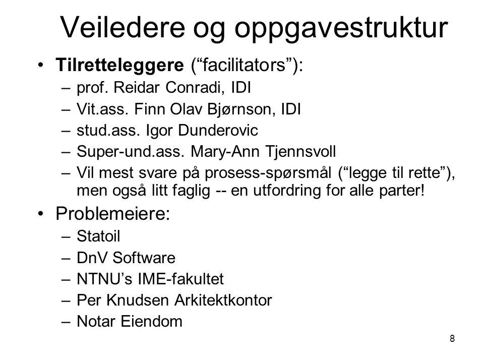 """8 Veiledere og oppgavestruktur Tilretteleggere (""""facilitators""""): –prof. Reidar Conradi, IDI –Vit.ass. Finn Olav Bjørnson, IDI –stud.ass. Igor Dunderov"""