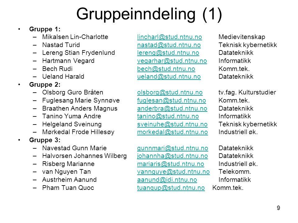 10 Gruppeinndeling (2) Gruppe 4: –Andreassen Anja anjaand@stud.ntnu.no Elektronikkanjaand@stud.ntnu.no –Bjarte-Larsson Rakel bjartela@stud.ntnu.no Industriell øk.bjartela@stud.ntnu.no –Ovell Jonas ovell@stud.ntnu.no Informatikkovell@stud.ntnu.no –Amundsen Torbjørn torbjoam@stud.ntnu.no Komm.tek.torbjoam@stud.ntnu.no –Brede Tore torebre@stud.ntnu.no Datateknikktorebre@stud.ntnu.no –Linseth Anders linseth@stud.ntnu.no Datateknikklinseth@stud.ntnu.no Gruppe 5: –Norlund Ellen Karoline norlund@stud.ntnu.no Industriell øk.norlund@stud.ntnu.no –Fredriksen Tord Andreas tordanf@stud.ntnu.no Informatikktordanf@stud.ntnu.no –Valås Inge Åsmund ingeasmu@stud.ntnu.no Informatikkingeasmu@stud.ntnu.no –Melcher Tobias melcher@stud.ntnu.no Datateknikkmelcher@stud.ntnu.no –Fossan Fredrik Høymer fredrifo@stud.ntnu.no Produktutviklingfredrifo@stud.ntnu.no –Holm Katja Elisabeth katjaeli@stud.ntnu.no Litteraturvitenskapkatjaeli@stud.ntnu.no