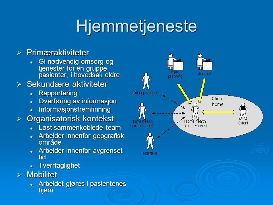 Hjemmetjeneste  Primæraktiviteter Gi nødvendig omsorg og tjenester for en gruppe pasienter, i hovedsak eldre Gi nødvendig omsorg og tjenester for en gruppe pasienter, i hovedsak eldre  Sekundære aktiviteter Rapportering Rapportering Overføring av informasjon Overføring av informasjon Informasjonsfremfinning Informasjonsfremfinning  Organisatorisk kontekst Løst sammenkoblede team Løst sammenkoblede team Arbeider innenfor geografisk område Arbeider innenfor geografisk område Arbeider innenfor avgrenset tid Arbeider innenfor avgrenset tid Tverrfaglighet Tverrfaglighet  Mobilitet Arbeidet gjøres i pasientenes hjem Arbeidet gjøres i pasientenes hjem