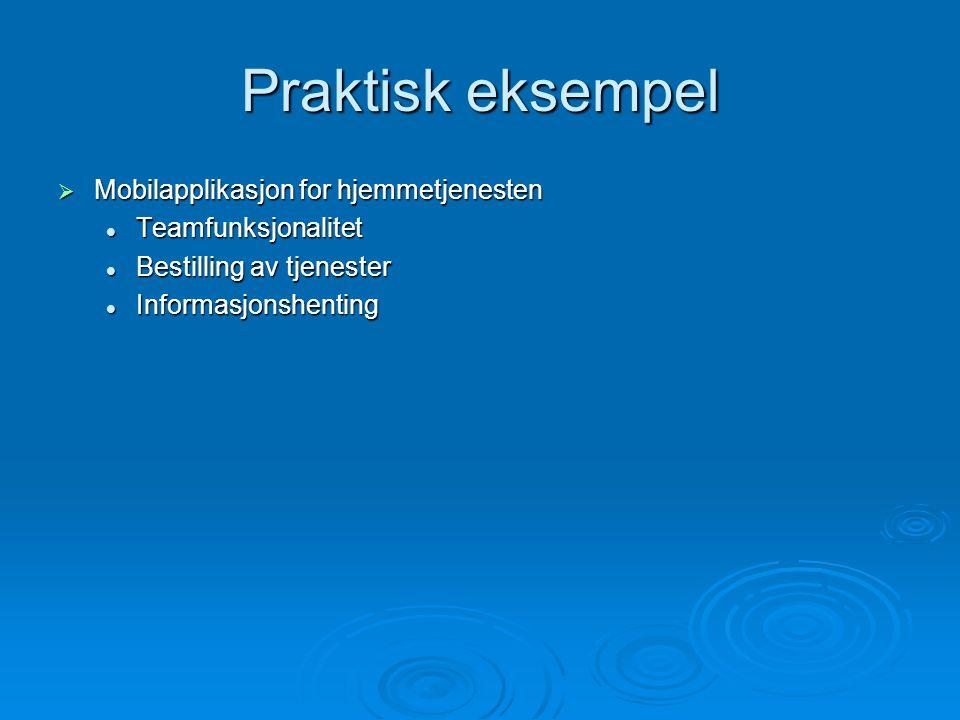 Praktisk eksempel  Mobilapplikasjon for hjemmetjenesten Teamfunksjonalitet Teamfunksjonalitet Bestilling av tjenester Bestilling av tjenester Informasjonshenting Informasjonshenting