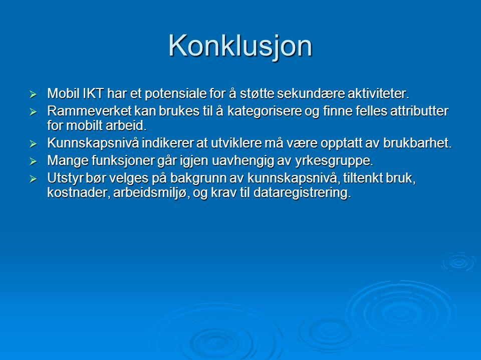 Konklusjon  Mobil IKT har et potensiale for å støtte sekundære aktiviteter.