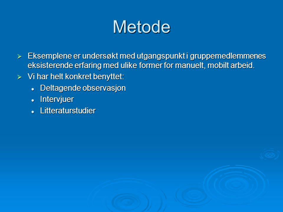 Metode  Eksemplene er undersøkt med utgangspunkt i gruppemedlemmenes eksisterende erfaring med ulike former for manuelt, mobilt arbeid.