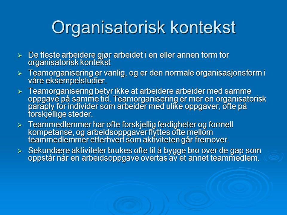 Organisatorisk kontekst  De fleste arbeidere gjør arbeidet i en eller annen form for organisatorisk kontekst  Teamorganisering er vanlig, og er den normale organisasjonsform i våre eksempelstudier.