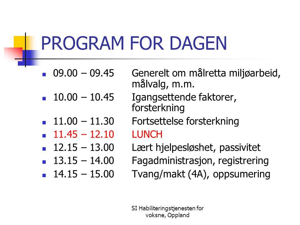 SI Habiliteringstjenesten for voksne, Oppland PROGRAM FOR DAGEN 09.00 – 09.45Generelt om målretta miljøarbeid, målvalg, m.m. 10.00 – 10.45Igangsettend
