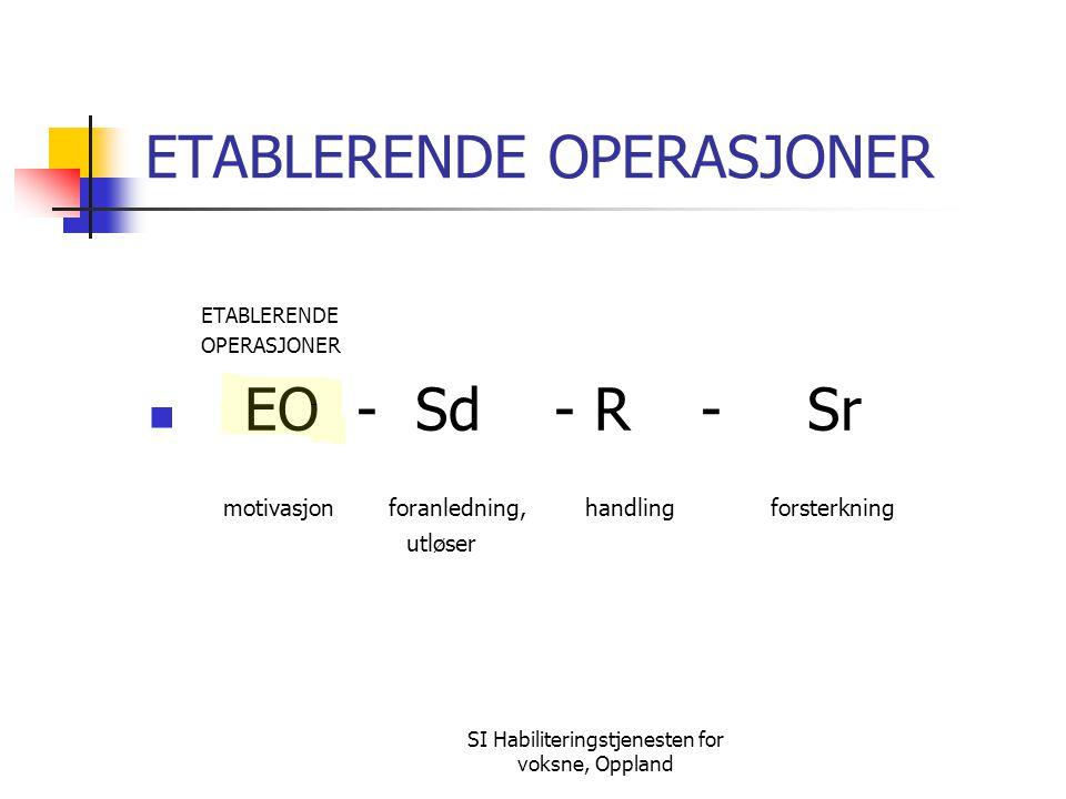 SI Habiliteringstjenesten for voksne, Oppland ETABLERENDE OPERASJONER ETABLERENDE OPERASJONER EO - Sd - R - Sr motivasjon foranledning, handling forst
