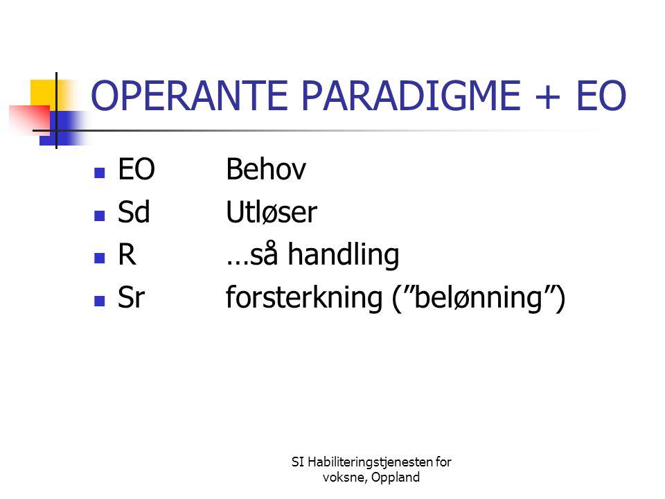 """SI Habiliteringstjenesten for voksne, Oppland OPERANTE PARADIGME + EO EOBehov SdUtløser R…så handling Srforsterkning (""""belønning"""")"""