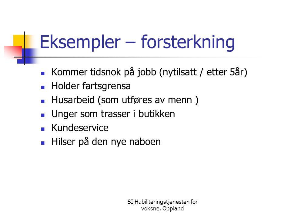 SI Habiliteringstjenesten for voksne, Oppland Eksempler – forsterkning Kommer tidsnok på jobb (nytilsatt / etter 5år) Holder fartsgrensa Husarbeid (so