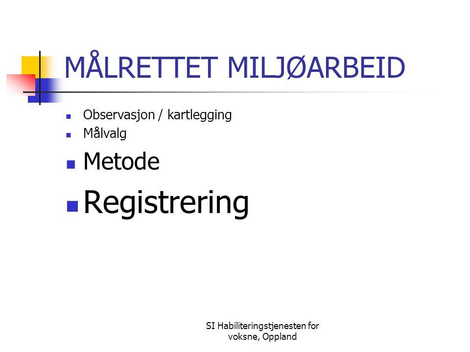 SI Habiliteringstjenesten for voksne, Oppland MÅLRETTET MILJØARBEID Observasjon / kartlegging Målvalg Metode Registrering