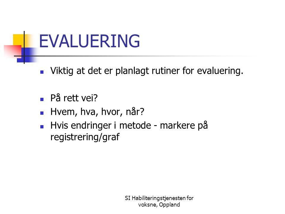 SI Habiliteringstjenesten for voksne, Oppland EVALUERING Viktig at det er planlagt rutiner for evaluering. På rett vei? Hvem, hva, hvor, når? Hvis end