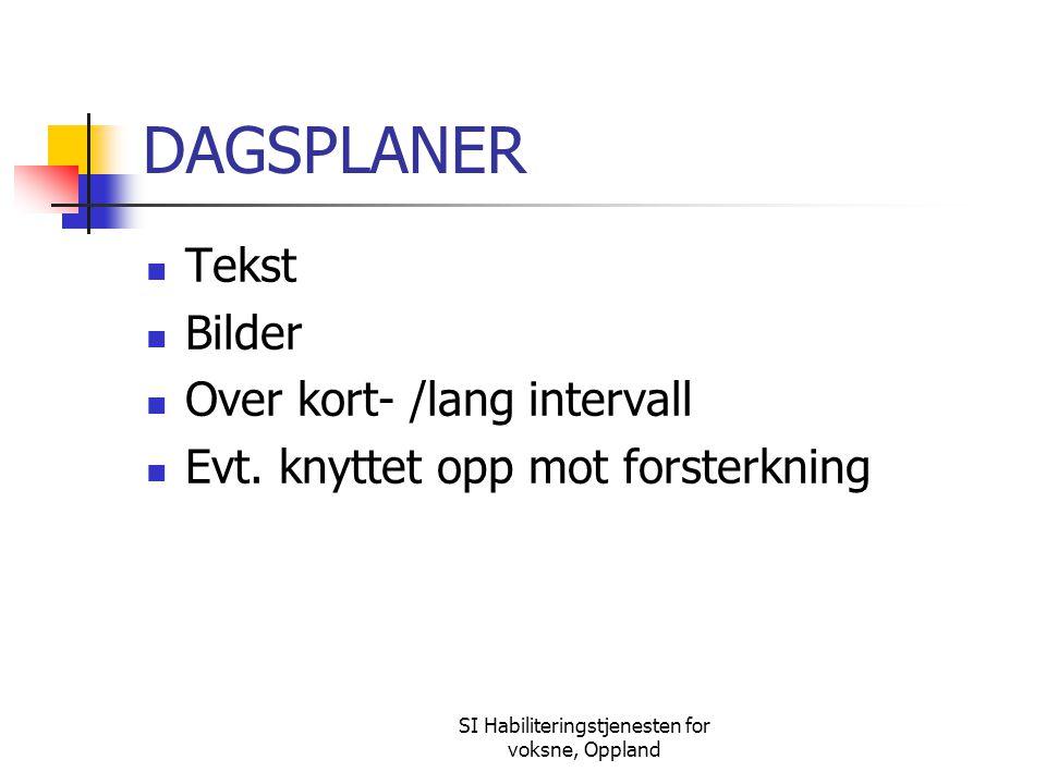 SI Habiliteringstjenesten for voksne, Oppland DAGSPLANER Tekst Bilder Over kort- /lang intervall Evt. knyttet opp mot forsterkning