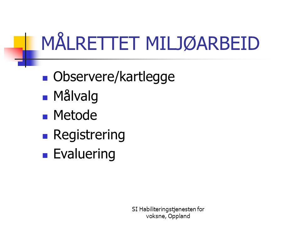 SI Habiliteringstjenesten for voksne, Oppland MÅLRETTET MILJØARBEID Observere/kartlegge Målvalg Metode Registrering Evaluering