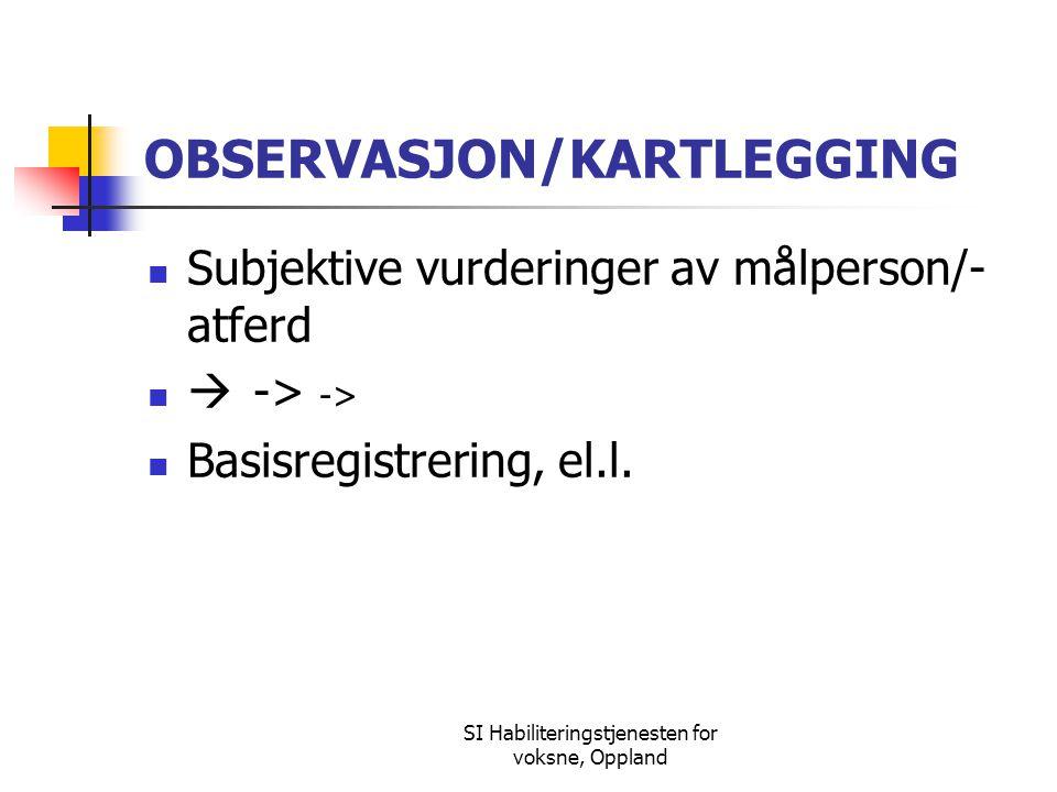 SI Habiliteringstjenesten for voksne, Oppland OBSERVASJON/KARTLEGGING Subjektive vurderinger av målperson/- atferd  -> -> Basisregistrering, el.l.
