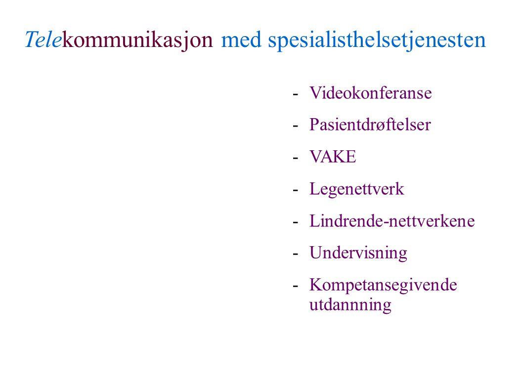 Rapport fra faggruppen - sykestuefunksjonen i Finnmark Telekommunikasjon med spesialisthelsetjenesten -Videokonferanse -Pasientdrøftelser -VAKE -Legenettverk -Lindrende-nettverkene -Undervisning -Kompetansegivende utdannning