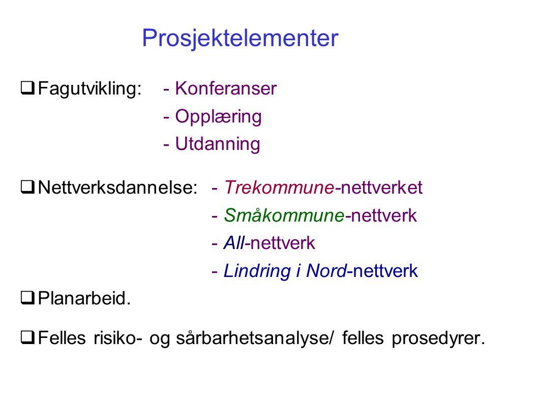 Prosjektelementer  Fagutvikling: - Konferanser - Opplæring - Utdanning  Nettverksdannelse:- Trekommune-nettverket - Småkommune-nettverk - All-nettverk - Lindring i Nord-nettverk  Planarbeid.