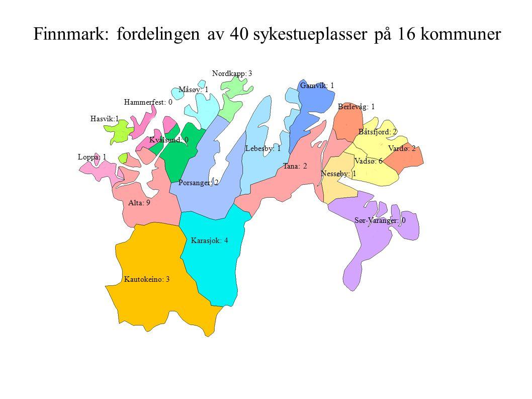 Kautokeino: 3 Karasjok: 4 Porsanger: 2 Alta: 9 Loppa: 1 Hasvik:1 Hammerfest: 0 Kvalsund: 0 Måsøy: 1 Nordkapp: 3 Lebesby: 1 Tana: 2 Sør-Varanger: 0 Vardø: 2 Vadsø: 6 Gamvik: 1 Nesseby: 1 Berlevåg: 1 Båtsfjord: 2 Finnmark: fordelingen av 40 sykestueplasser på 16 kommuner