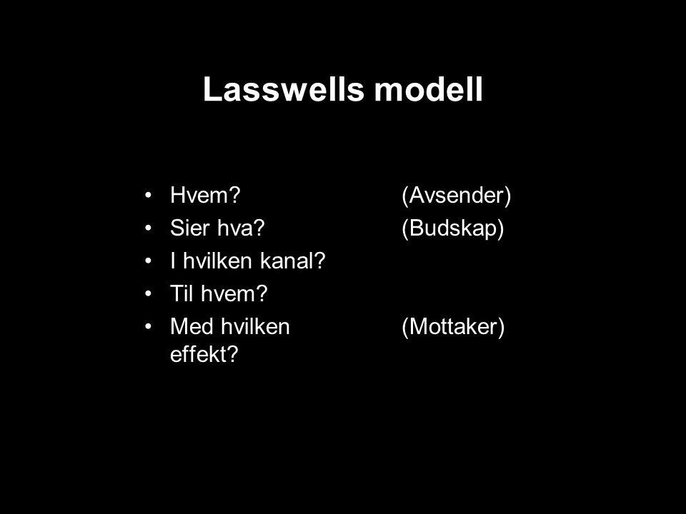 Lasswells modell Hvem. Sier hva. I hvilken kanal.