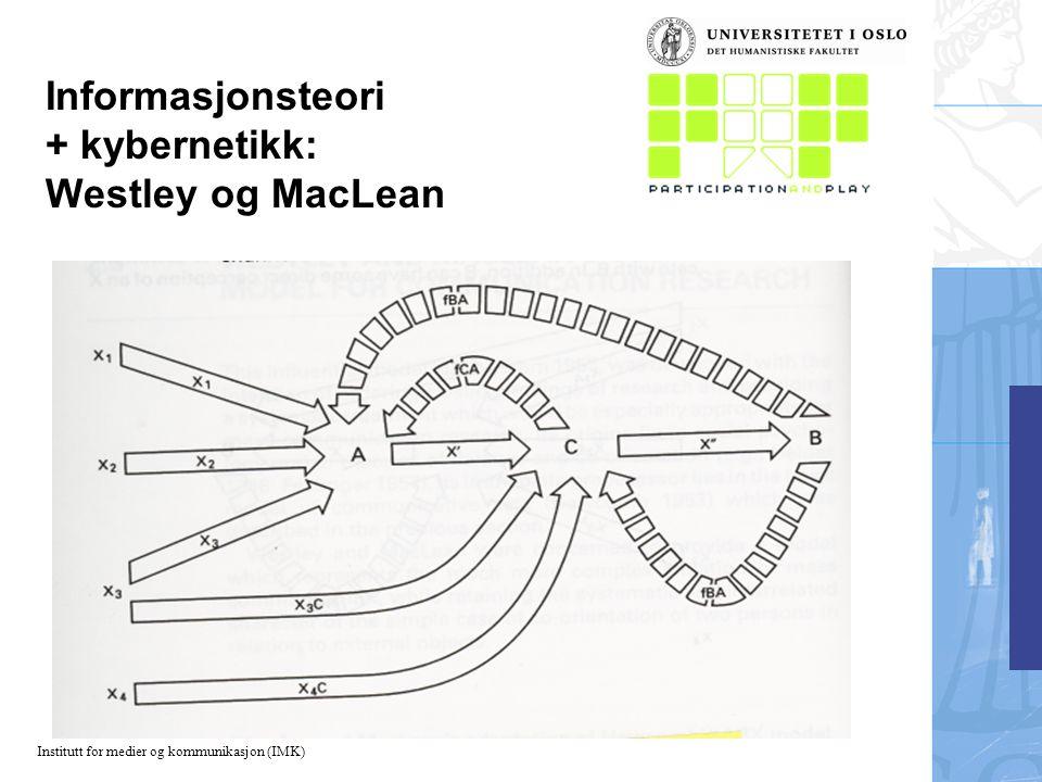 Institutt for medier og kommunikasjon (IMK) Informasjonsteori + kybernetikk: Westley og MacLean