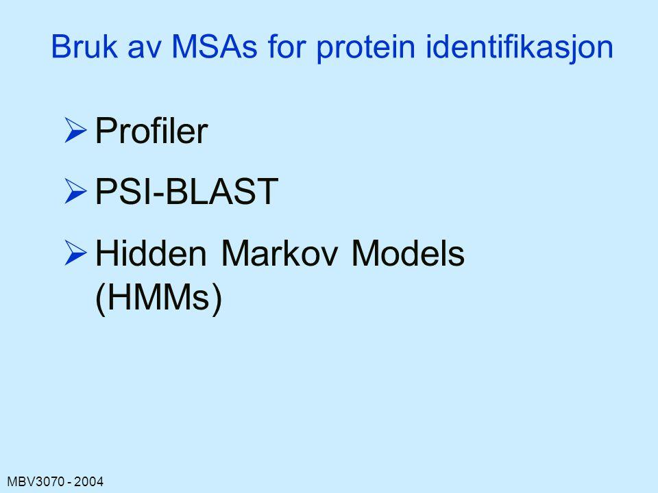 MBV3070 - 2004 Bruk av MSAs for protein identifikasjon  Profiler  PSI-BLAST  Hidden Markov Models (HMMs)