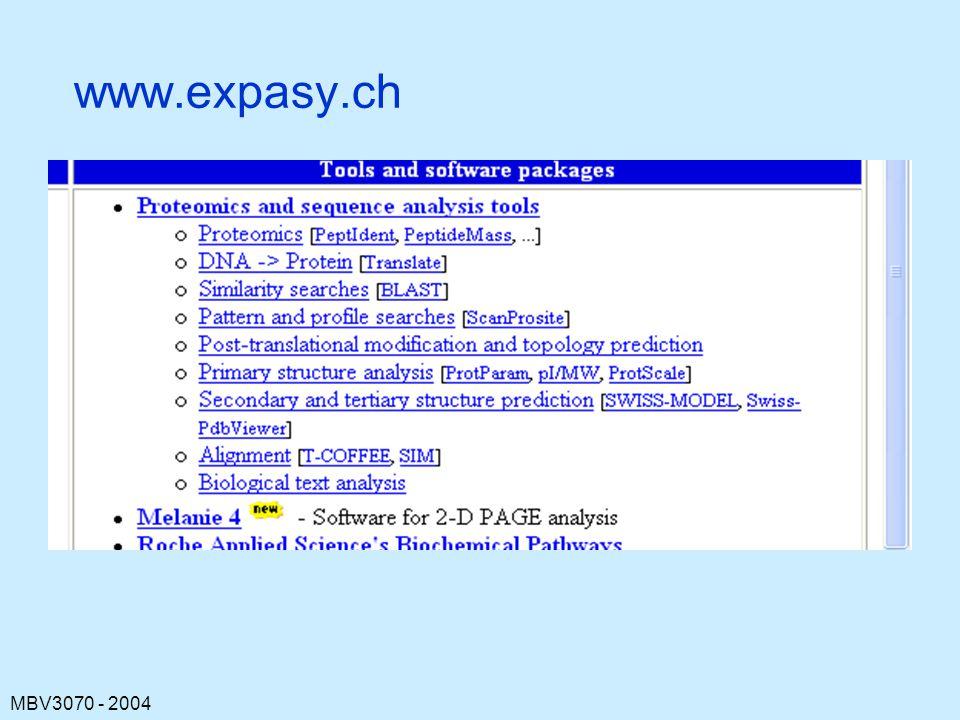 MBV3070 - 2004 www.expasy.ch