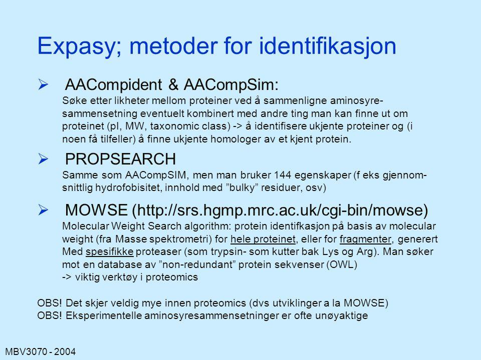 MBV3070 - 2004 Expasy; metoder for identifikasjon  AACompident & AACompSim: Søke etter likheter mellom proteiner ved å sammenligne aminosyre- sammensetning eventuelt kombinert med andre ting man kan finne ut om proteinet (pI, MW, taxonomic class) -> å identifisere ukjente proteiner og (i noen få tilfeller) å finne ukjente homologer av et kjent protein.