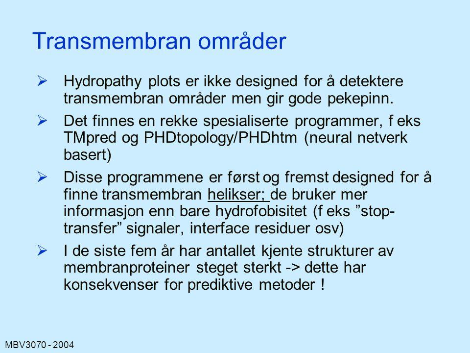 MBV3070 - 2004 Transmembran områder  Hydropathy plots er ikke designed for å detektere transmembran områder men gir gode pekepinn.