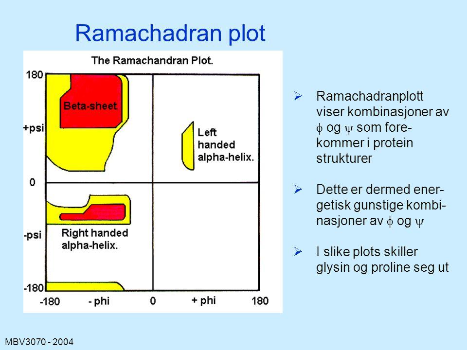 MBV3070 - 2004 Ramachadran plot  Ramachadranplott viser kombinasjoner av  og  som fore- kommer i protein strukturer  Dette er dermed ener- getisk gunstige kombi- nasjoner av  og   I slike plots skiller glysin og proline seg ut